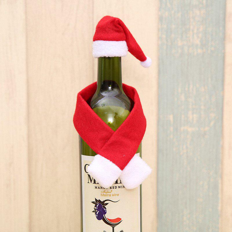 Cute Small Scarf and Hat for  Christmas Bottle DecorationHOME<br><br>Color: RED;