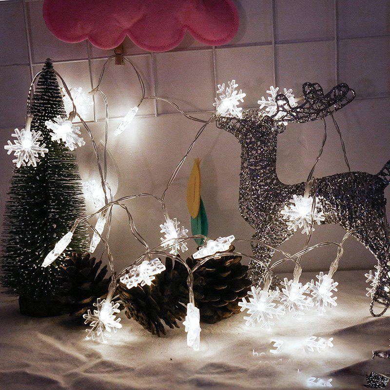 2M 20-LED Snowflake Lights Battery Powered String Lights for Christmas DecorationHOME<br><br>Color: WHITE LIGHT;