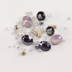 1 Box Metal Decorative Pink Big Jewel Pearl Accessories Mixed Style  Nail Art Decoration 80pcs -