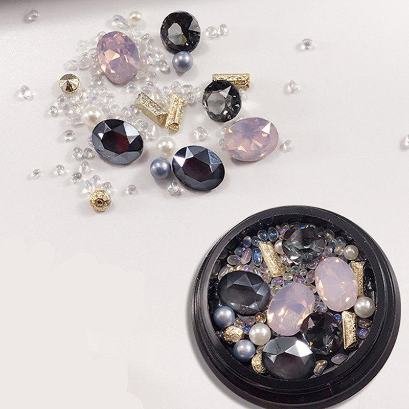 Outfit 1 Box Metal Decorative Pink Big Jewel Pearl Accessories Mixed Style  Nail Art Decoration 80pcs