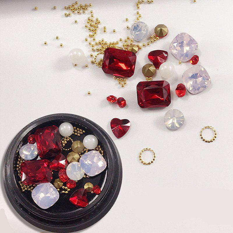 1 Box Metal Decorative Red Big Jewel Pearl Accessories Mixed Style  Nail Art Decoration 80PCSBEAUTY<br><br>Color: COLORMIX;