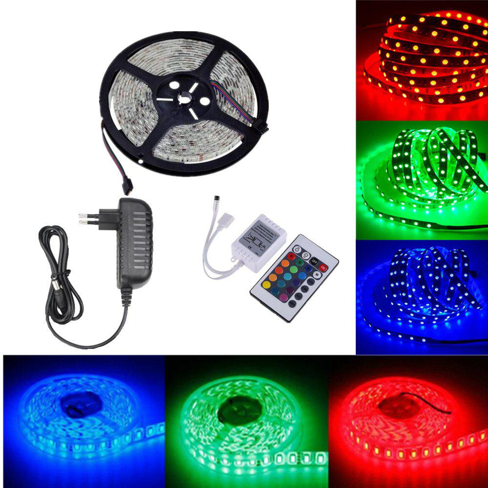 OMTO DC12V 5M / 16.4 FT SMD3528 Non-Waterproof LED Light Strip Power Supply RGB Color Changing Kit with 24 Key IR Controller for Kitchen Bedroom Sitting Room CarHOME<br><br>Color: RGB COLOR; Brand: OMTO; Type: Flexible LED Light Strips,LED Strip Light,RGB Strip Lights; Light Source Color: RGB; Length ( m ): 5; Wattage (W): 24; Voltage: 100 - 240V,DC12V; Power Supply: 12V; Features: Color-changing,Cuttable,Festival Lighting,Linkable,with Remote Control; Light Source: 3528 SMD,LED; Beam Angle: 180; LED Quantity: 300; Color Temperature or Wavelength: RGB;