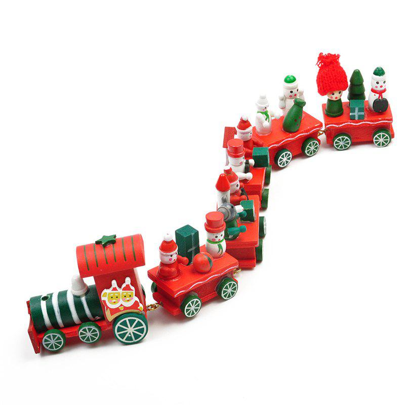 WS Hot New Lovely Charming Little Train Wood Christmas Train Ornament Decoration Decor GiftHOME<br><br>Size: SIZE 3; Color: FLAME; Material: Wood; For: All,Kids,Lover,Others; Usage: Christmas,Others,Party;
