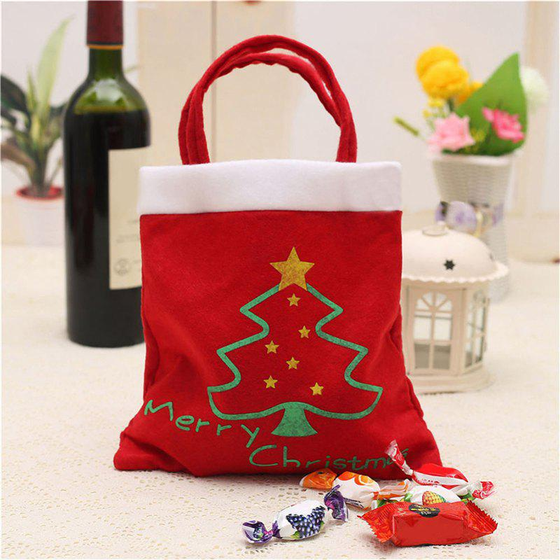 Creative Christmas Tree Pattern Santa Claus Candy Bag Handbag Home Party Decoration Gift Bag Christmas Supplie Free ShippingHOME<br><br>Color: FLAME; Material: Flocking Fabric,Lint; For: All,Kids,Others; Usage: Christmas;