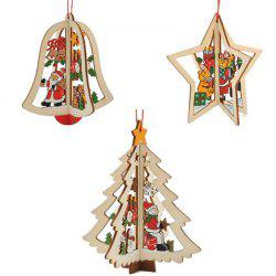 WS 3PCS Christmas Tree Ornament Accessories Wooden Bell Star Stereo Holiday Products -