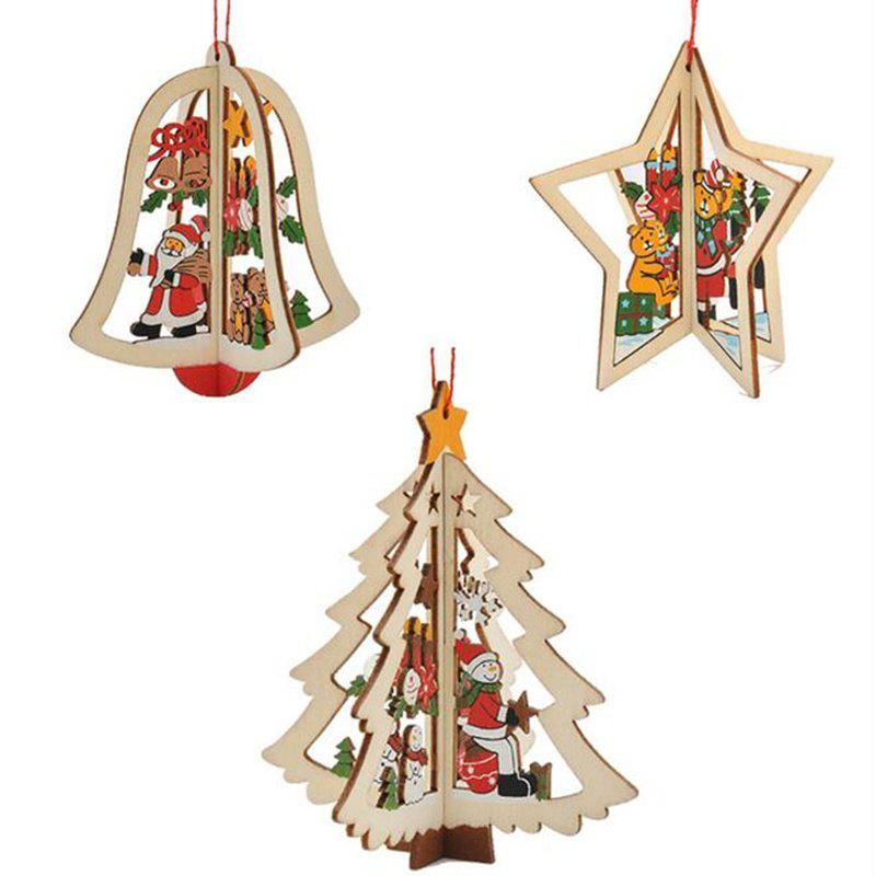 Cheap WS 3PCS Christmas Tree Ornament Accessories Wooden Bell Star Stereo Holiday Products