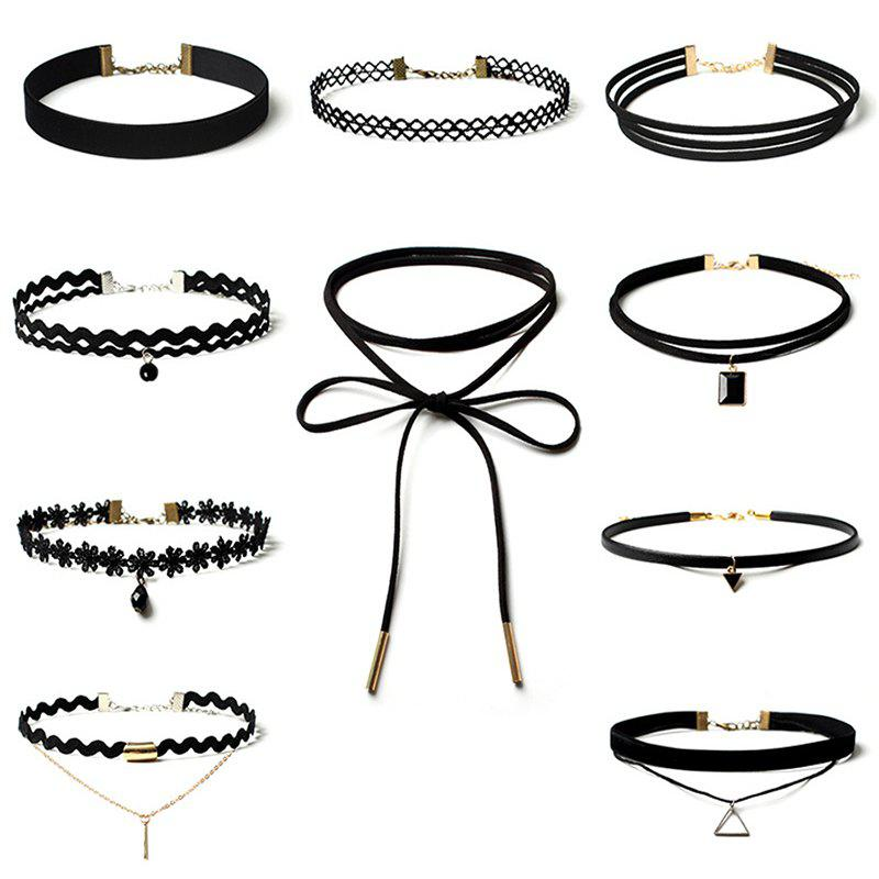 10 Womens Jewelry Set Punk Style Vintage Multielement Choker JewelryJEWELRY<br><br>Color: BLACK;