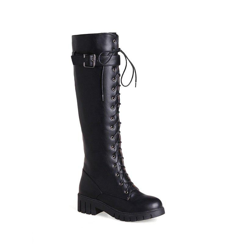 New Women's Knee Length Boots PU Material Round Toe Cross Lace Up British Style Knight Shoes