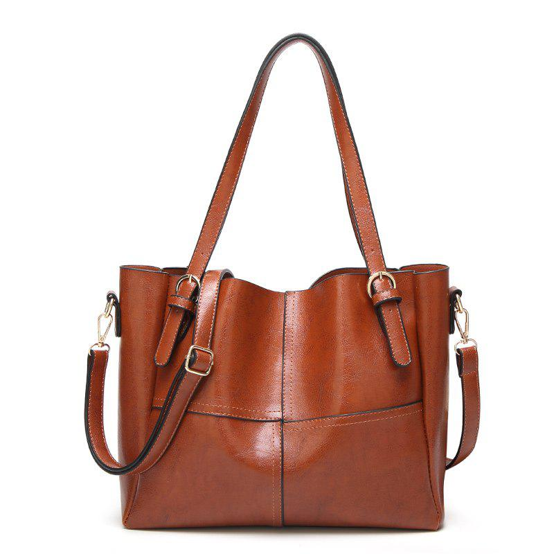 Oil Wax Bucket Single Shoulder BagSHOES &amp; BAGS<br><br>Size: HORIZONTAL; Color: BROWN;