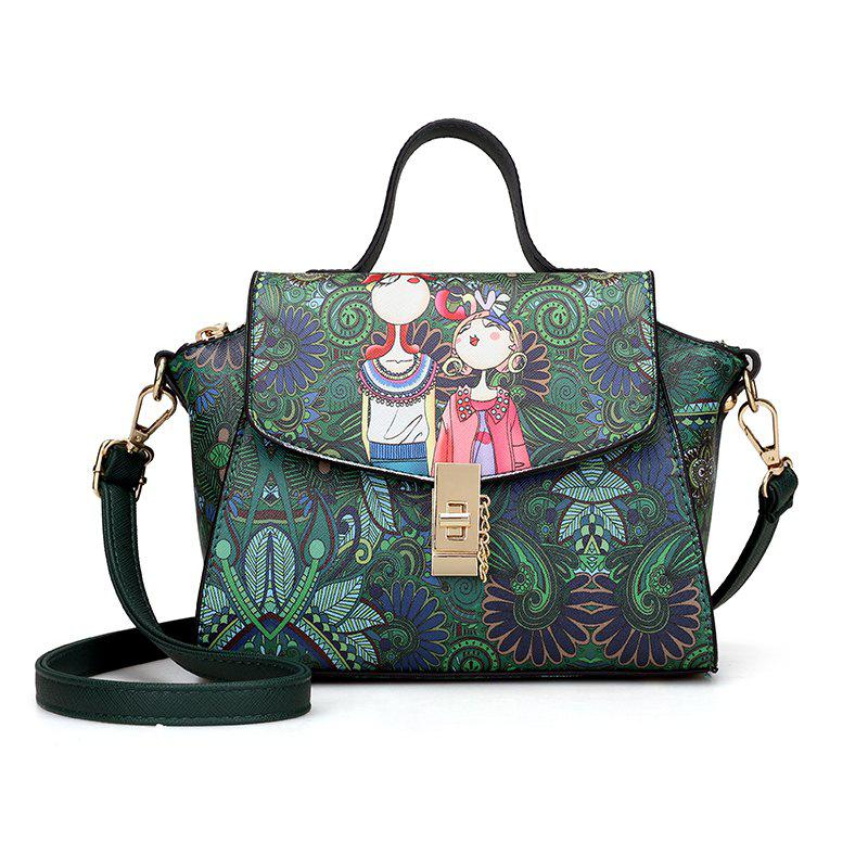 printing Casual fashion  PU Leather Tote Shoulder Handbag for WomenSHOES &amp; BAGS<br><br>Color: GREEN;