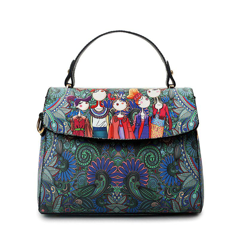 Ladies PU Leather Laptop Bag Printing Crossbody Messenger Bags-GreenSHOES &amp; BAGS<br><br>Color: GREEN;