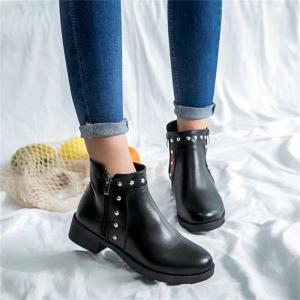 TY-A80 Low Heel Thick with Double Zipper Round Head Martin Boots -