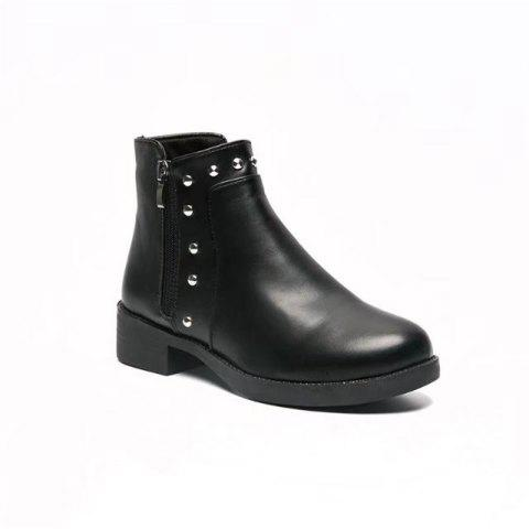 Unique TY-A80 Low Heel Thick with Double Zipper Round Head Martin Boots