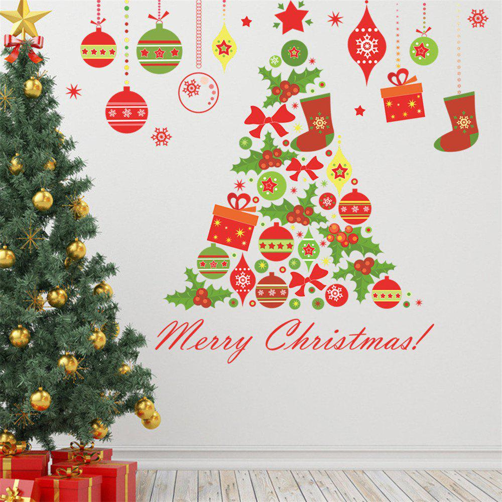 Christmas Tree Wall Sticker for Home DecorationHOME<br><br>Color: COLORMIX; Type: Plane Wall Sticker; Subjects: Christmas; Art Style: Plane Wall Stickers; Color Scheme: Multicolor; Function: Decorative Wall Sticker; Material: Vinyl(PVC); Suitable Space: Bedroom,Boys Room,Dining Room,Girls Room,Kids Room,Kitchen,Living Room,Pathway; Layout Size (L x W): 50*70cm; Effect Size (L x W): 76cm*65cm; Quantity: 1;
