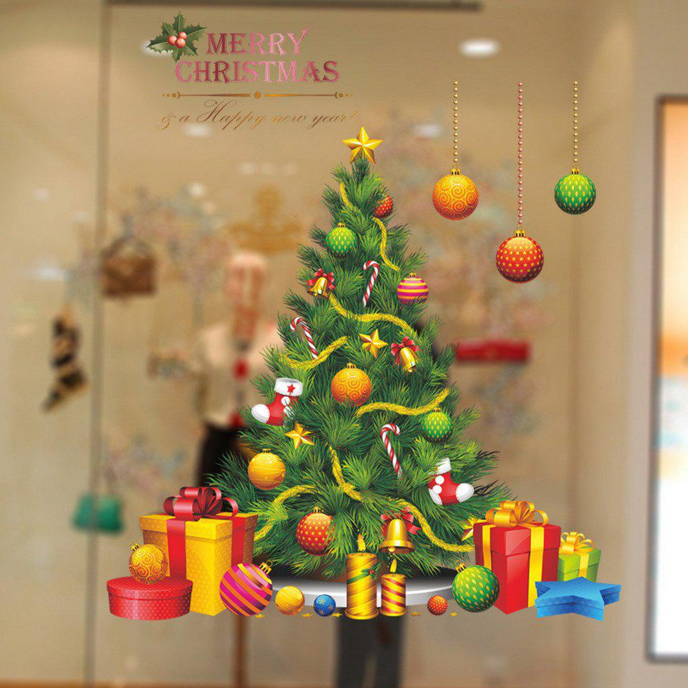 Christmas Tree Vinyl Removable Wall StickerHOME<br><br>Color: COLORMIX; Type: Plane Wall Sticker; Subjects: Cartoon,Christmas; Art Style: Plane Wall Stickers; Color Scheme: Others; Artists: Others; Function: Decorative Wall Sticker; Material: Vinyl(PVC); Suitable Space: Bedroom,Cafes,Dining Room,Game Room,Girls Room,Kids Room,Kids Room,Office; Layout Size (L x W): 50cm * 70cm; Effect Size (L x W): 62*72cm; Quantity: 1;