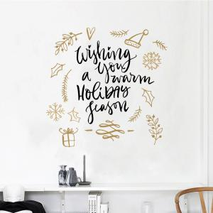 ... Merry Christmas Wall Sticker Wishing You A Warm Holiday Season Vinyl Wall  Decals ...