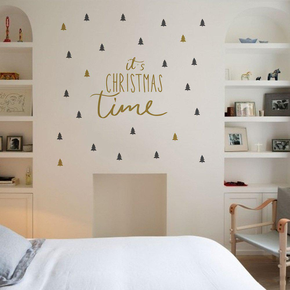 New Christmas Wall Stickers Christmas Tree Double Color DIY PostersHOME<br><br>Color: COLORMIX; Type: Plane Wall Sticker; Subjects: Abstract,Cartoon,Christmas,Letter; Art Style: Plane Wall Stickers; Color Scheme: Others; Artists: Others; Function: Decorative Wall Sticker; Material: Vinyl(PVC); Suitable Space: Bedroom,Boys Room,Cafes,Game Room,Girls Room,Kids Room,Kids Room,Office,Study Room / Office; Layout Size (L x W): 25.5cm x 43cm + 25.5cm x 38cm; Effect Size (L x W): 99.8cm x 112cm; Quantity: 2;