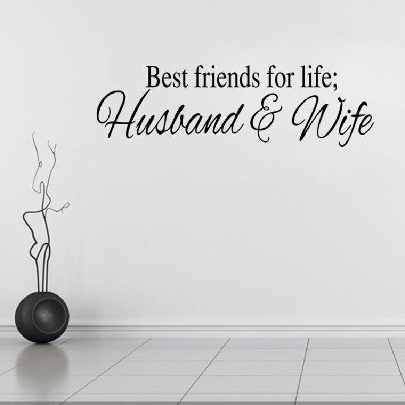 DSU Wall Sticker Best Friends For Life Husband and WifeHOME<br><br>Color: BLACK; Brand: DSU; Type: Plane Wall Sticker; Subjects: Cute,Fashion,Leisure,Letter; Function: Decorative Wall Sticker; Material: Vinyl(PVC); Suitable Space: Bedroom,Hotel,Kids Room,Kids Room,Study Room / Office; Layout Size (L x W): 17 x 57cm; Effect Size (L x W): 17 x 57cm; Quantity: 1;