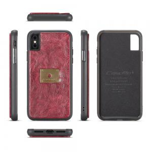 CaseMe Cracked Effect Genuine Leather Pouch Case with Magnetic Back Cover for iPhone X -