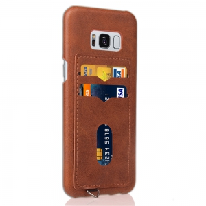 Simple Stripes Card Lanyard Pu Leather for Samsung S8 Plus -