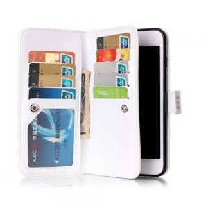 Wkae Color Printing Relief 9-Card Pu кожа флип Стойка чехол для iPhone 8 Plus / 7 Plus -