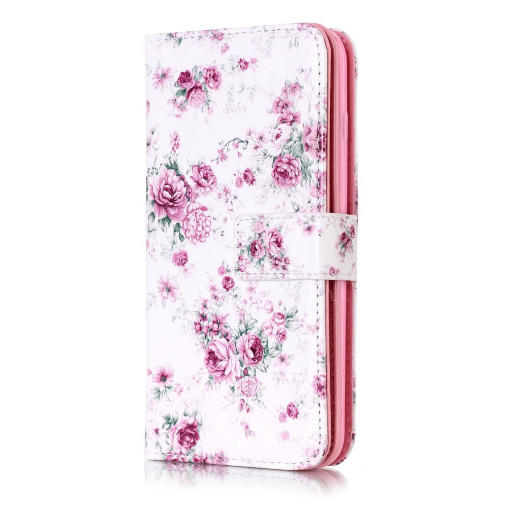 Shop Wkae Color Printing Relief 9-Card Pu Leather Flip Stand Case for iPhone 8 Plus / 7 Plus