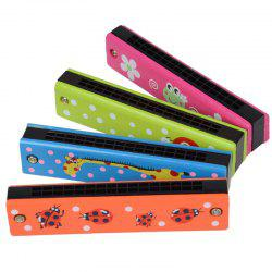 Wooden Colored Painted Harmonica 4PCS for Children -