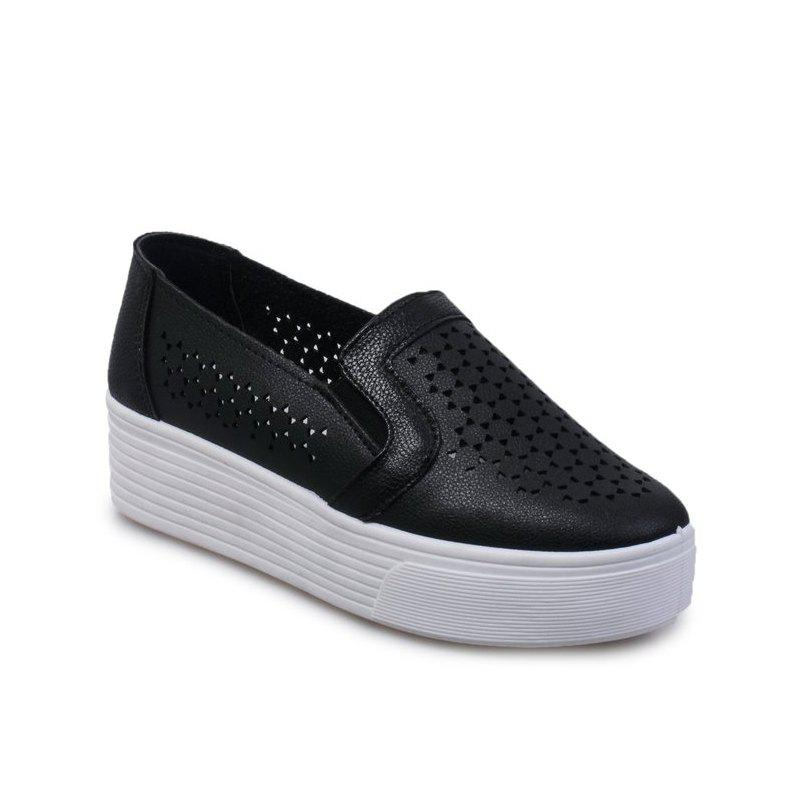 College Round Head Small White Shoe GirlSHOES &amp; BAGS<br><br>Size: 39; Color: BLACK;