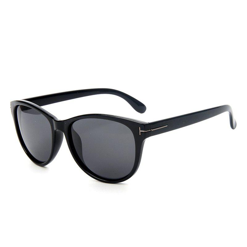 TOMYE P6025 Fashion PC Cat Eye Polarized Sunglasses for WomenACCESSORIES<br><br>Color: BRIGHT BLACK+GREY;