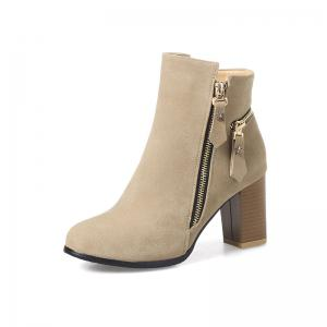 Women's Thick-Heeled Ankle Boots Zipper All Match Boots -