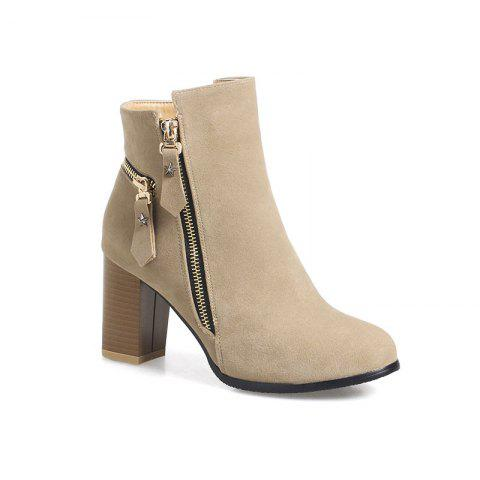 Online Women's Thick-Heeled Ankle Boots Zipper All Match Boots