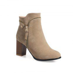 Women's Ankle Boots Thick Heel Zipper Decoration All Match Boots -