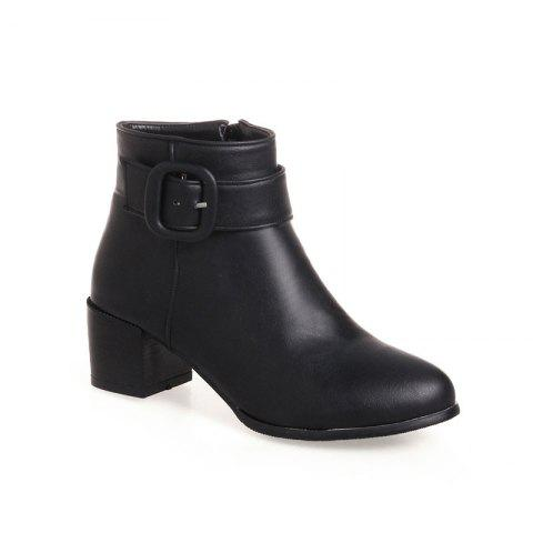 Outfits Women's Ankle Boots Buckle Decoration Zipper Up Simple All Match Boots BLACK 39