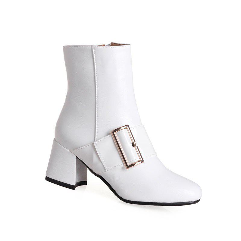 Womens Ankle Boots Square Heel Buckle Ornament All Match BootsSHOES &amp; BAGS<br><br>Size: 39; Color: WHITE;