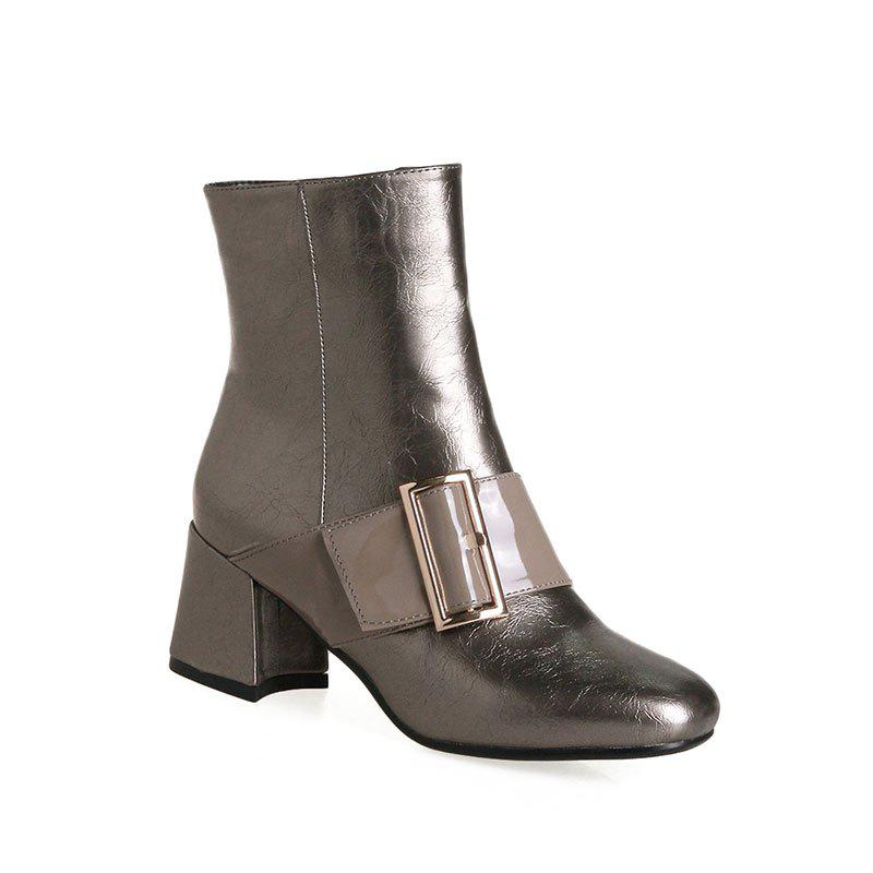 Hot Women's Ankle Boots Square Heel Buckle Ornament All Match Boots