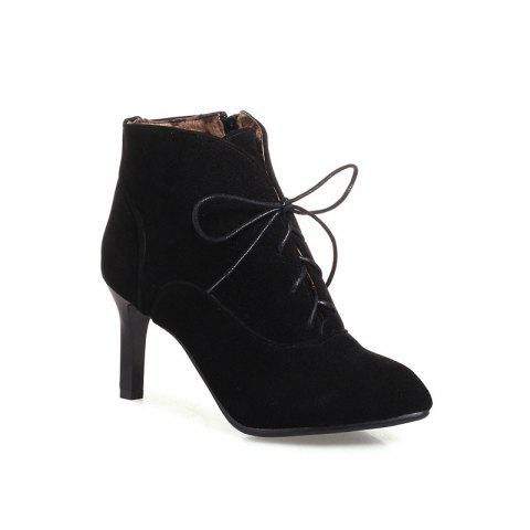 Affordable Women's Thin-Heeled Ankle Boots Lace Up High-Heeled Boots