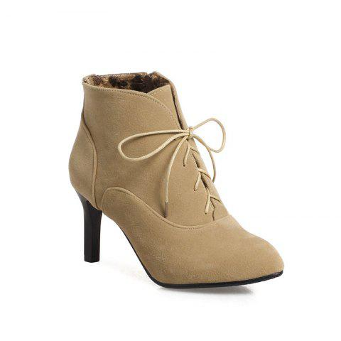 Fancy Women's Thin-Heeled Ankle Boots Lace Up High-Heeled Boots