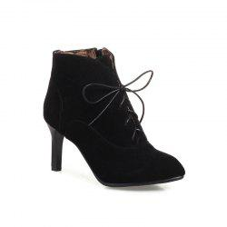 Women's Thin-Heeled Ankle Boots Lace Up High-Heeled Boots -