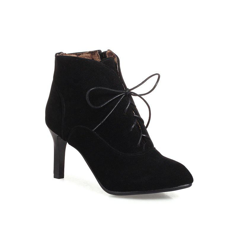 Store Women's Thin-Heeled Ankle Boots Lace Up High-Heeled Boots