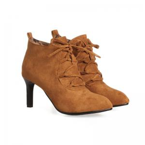 Women's Ankle Boots Lace Up Design Pointed Toe High-Heeled Boots -
