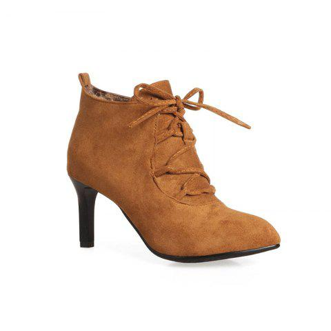 New Women's Ankle Boots Lace Up Design Pointed Toe High-Heeled Boots