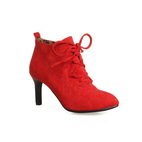 Unique Women's Ankle Boots Lace Up Design Pointed Toe High-Heeled Boots