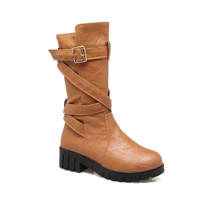 d5f85aa8d695 Shop Women s Shoes Leatherette Winter Comfort Fashion Boots Slouch Boots  Low Heel Round Toe Mid-