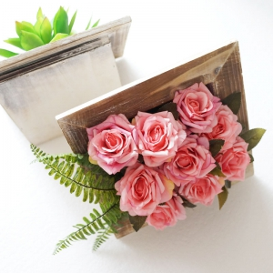 Lmdec TzhM1701 Fake Rose with Photo Set Vase Table Decoration -
