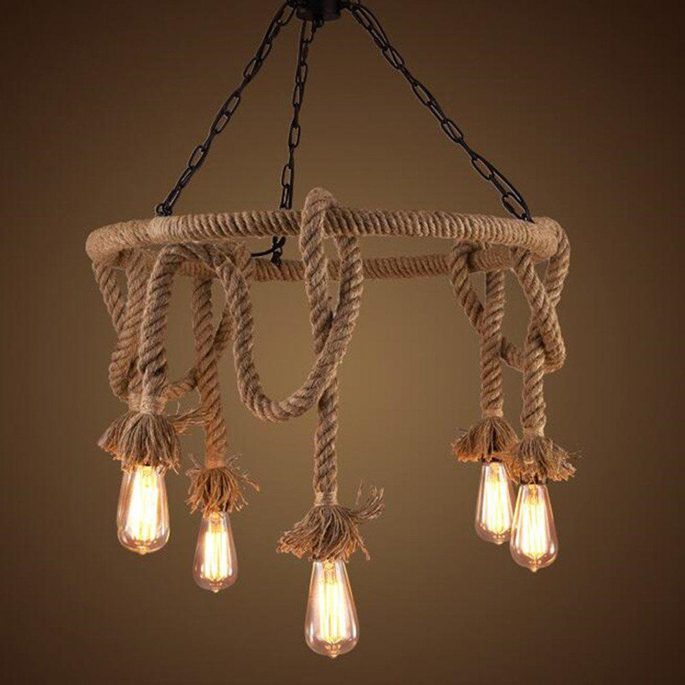 Ms 12 nordic hemp rope chandelier retro creative dangling lamp vintage pendant light fixture