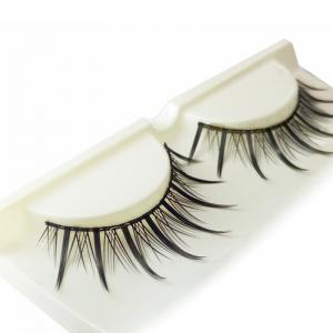 Pair of Black Cosmetic Natural Long Cross Dense False Eyelashes -