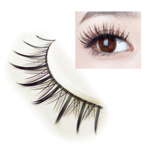 Unique Pair of Black Cosmetic Natural Long Cross Dense False Eyelashes