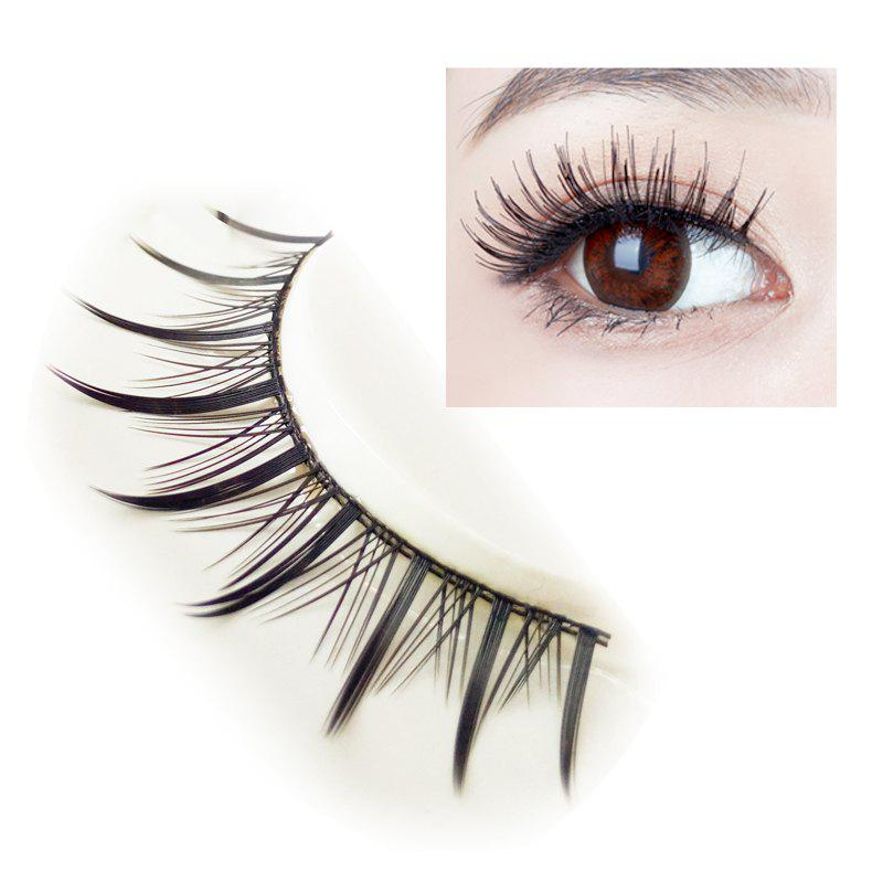 Pair of Black Cosmetic Natural Long Cross Dense False EyelashesBEAUTY<br><br>Color: BLACK;