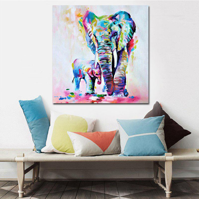 Watercolor Elephant Inkjet Canvas Art PaintingHOME<br><br>Size: 20 X 20 INCH (50CM X 50CM); Color: COLORFUL ELEPHANT; Material: Canvas; Shape: Any Shape; Craft: Oil Painting; Form: One Panel; Painting: Without Inner Frame; Subjects: Abstract; Style: Modern Style; Suitable Space: Bedroom,Dining Room,Kids Room,Kids Room,Living Room,Office;