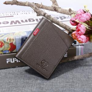 Portable Soft Lychee Print Wallet Men Bifold Short Card Holder -